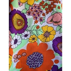 Vintage floral retro colorful fabric 2 yards